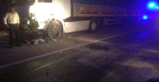 Otomobil Park Halindeki TIR'a çarptı